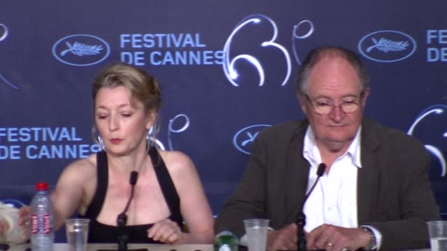 Lesley Manville Mike Leigh Ruth Sheen and Jim Broadbent at the Another Year Press Conference Cannes 2010 Film Festival at Cannes