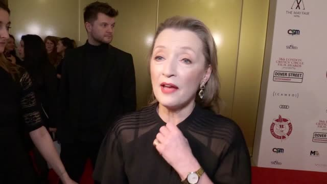 stockvideo's en b-roll-footage met lesley manville says she feels like 'a giddy 12yearold' at her oscar and bafta nominations as she joins stars attending the critics' circle film... - criticus