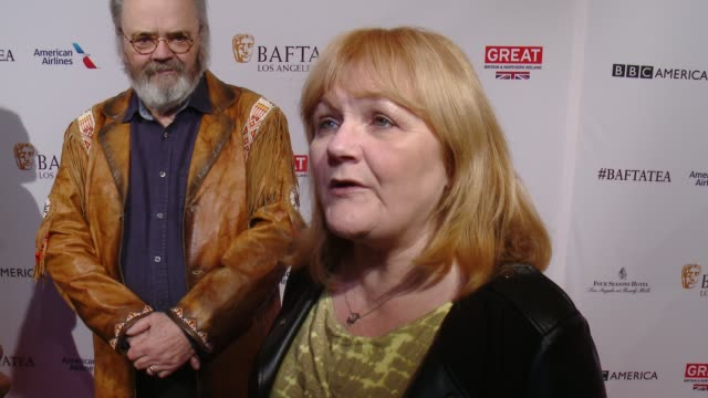 interview lesley nicol on being at the event and on who she's rooting for this awards season at the bafta los angeles awards season tea party at four... - tea party stock videos and b-roll footage