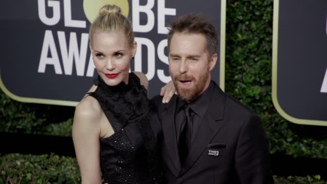 leslie bibb and sam rockwell at the 75th annual golden globe awards at the beverly hilton hotel on january 07, 2018 in beverly hills, california. - the beverly hilton hotel stock videos & royalty-free footage
