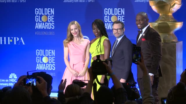 leslie mann danai gurira christian slater terry crews at 76th annual golden globe awards nominations at the beverly hilton hotel on december 06 2018... - danai gurira stock videos and b-roll footage
