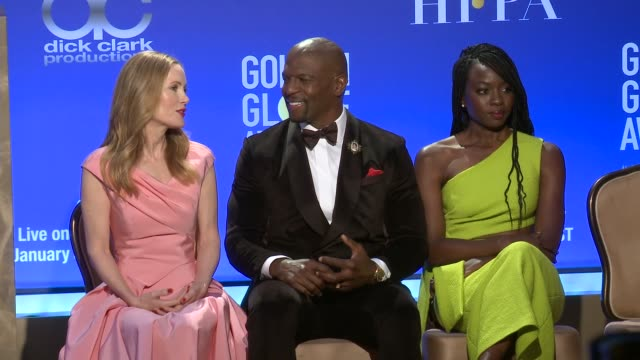 vídeos de stock, filmes e b-roll de leslie mann terry crews danai gurira at 76th annual golden globe awards nominations at the beverly hilton hotel on december 06 2018 in beverly hills... - nomeação