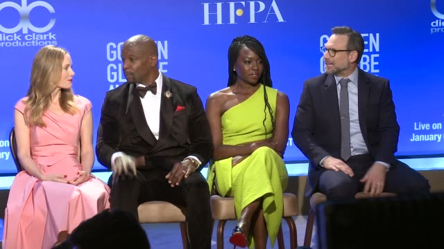 leslie mann terry crews danai gurira christian slater at 76th annual golden globe awards nominations at the beverly hilton hotel on december 06 2018... - danai gurira stock videos and b-roll footage