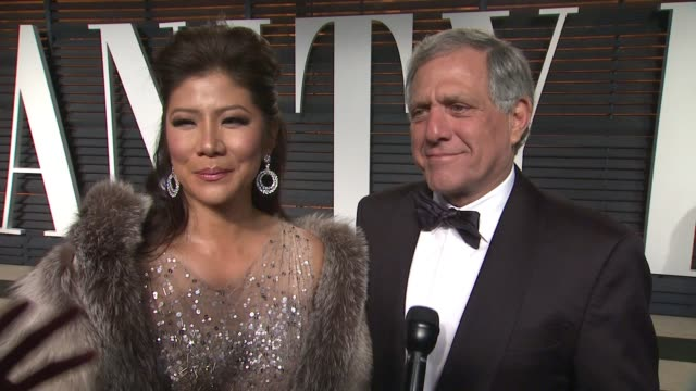 leslie moonves and julie chen at the 2015 vanity fair oscar party hosted by graydon carter at wallis annenberg center for the performing arts on... - oscar party stock videos & royalty-free footage
