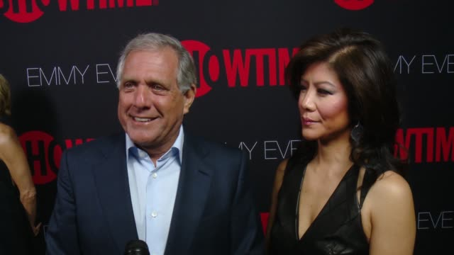 interview leslie moonves on why he wanted to celebrate emmy eve with showtime what showtime's 24 nominations say about the network at showtime emmys... - エミー賞点の映像素材/bロール