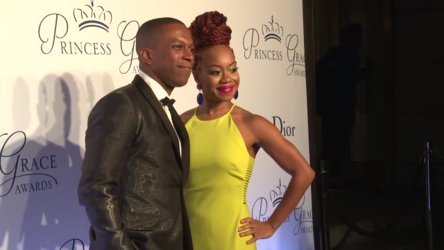 leslie odom jr and camille a brown at the 2016 princess grace awards gala at cipriani 25 broadway on october 24 2016 in new york city - cipriani manhattan stock videos & royalty-free footage