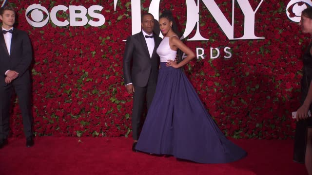 leslie odom jr and nicolette robinson at 2016 tony awards red carpet at the beacon theatre on june 12 2016 in new york city - 70th annual tony awards stock videos and b-roll footage