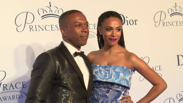 leslie odom jr and nicolette robinson at the 2016 princess grace awards gala at cipriani 25 broadway on october 24 2016 in new york city - cipriani manhattan stock videos & royalty-free footage