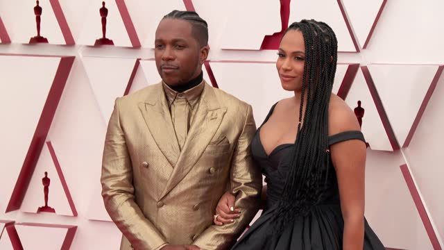 leslie odom jr. and nicolette robinson at the 93rd annual academy awards - arrivals on april 25, 2021. - academy awards stock videos & royalty-free footage