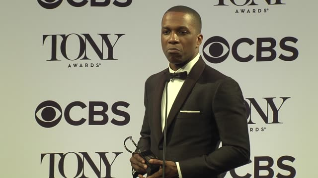 interview leslie odom jr talks about being reawakened by hamilton at 2016 tony awards press room at the beacon theatre on june 12 2016 in new york... - 70th annual tony awards stock videos and b-roll footage