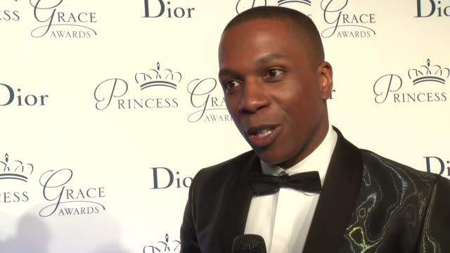 interview leslie odom jr talks about the first time he won an award at the 2016 princess grace awards gala at cipriani 25 broadway on october 24 2016... - cipriani manhattan stock videos & royalty-free footage