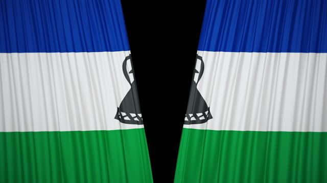レソト旗カーテンクロス - ベルベット点の映像素材/bロール