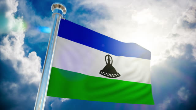 4k - lesotho flag   loopable stock video - country geographic area stock videos & royalty-free footage