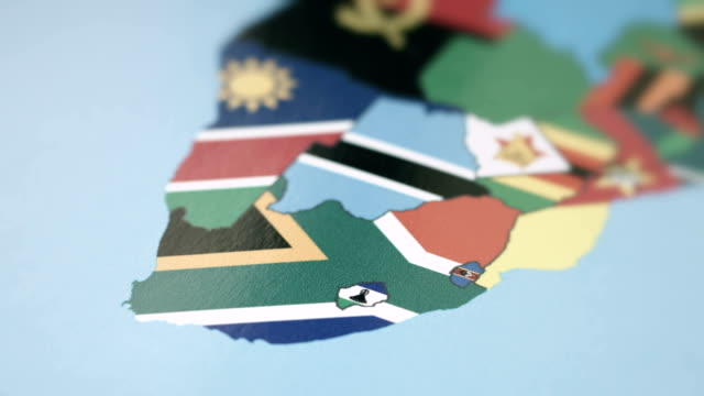 Lesotho, South Africa, Swaziland Borders with National Flag on World Map