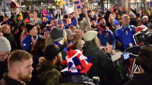 vídeos de stock, filmes e b-roll de less than 18 months after sensationally knocking england out of euro 2016 iceland qualified for the world cup for the first time following a 20 win... - euro 2016