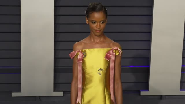 letitia wright at 2019 vanity fair oscar party hosted by radhika jones at wallis annenberg center for the performing arts on february 24 2019 in... - letitia wright stock videos and b-roll footage
