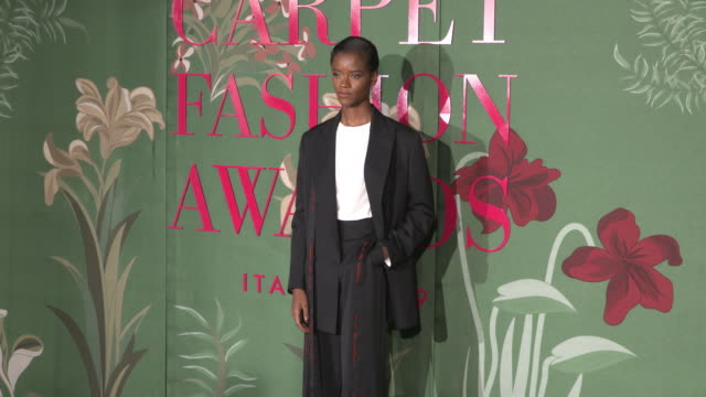 letitia wright at green carpet fashion awards on september 22 2019 in milan italy - letitia wright stock videos and b-roll footage