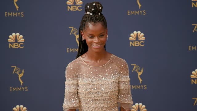 letitia wright at the 70th emmy awards arrivals at microsoft theater on september 17 2018 in los angeles california - letitia wright stock videos and b-roll footage
