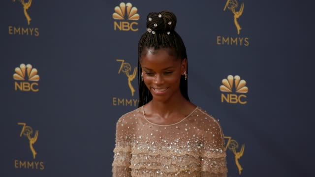 vídeos de stock, filmes e b-roll de letitia wright at the 70th emmy awards arrivals at microsoft theater on september 17 2018 in los angeles california - 70th annual primetime emmy awards