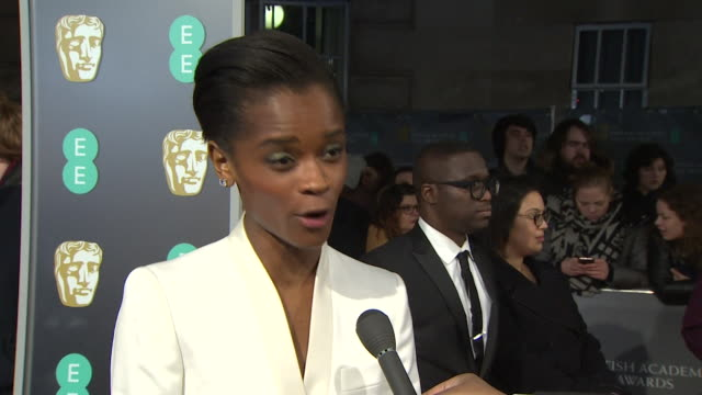 letitia wright interview on bafta red carpet about the rising star award and her film success in the last year - british academy film awards stock videos & royalty-free footage
