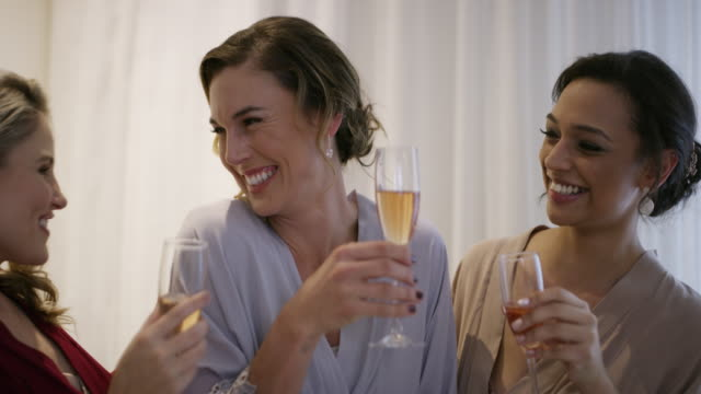 let's raise our glasses, our girl's getting married - female friendship stock videos & royalty-free footage