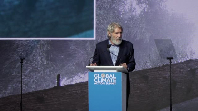 let's stop giving power to people who don't believe in science says actor harrison ford at the global climate action summit - climate science stock videos & royalty-free footage