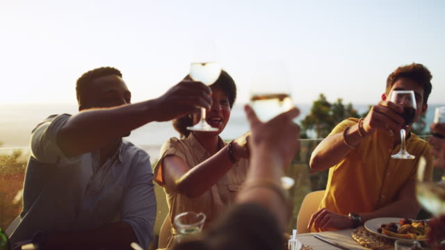 let's toast to many more years of friendship and happiness - wine stock videos & royalty-free footage