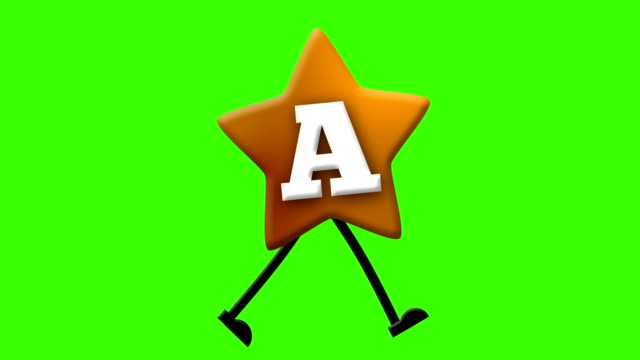 Letter A in Latin alphabet and walking character on greenscreen