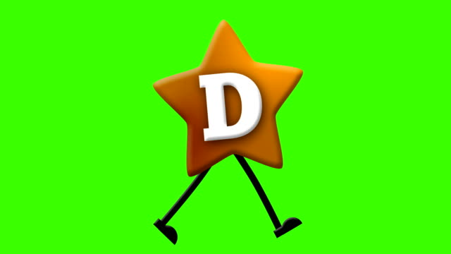 Letter D in Latin alphabet and walking character on greenscreen