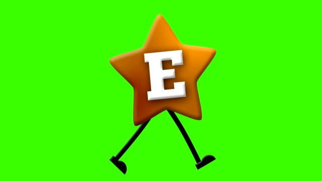 stockvideo's en b-roll-footage met letter e in het latijnse alfabet en loop karakter op greenscreen - e learning