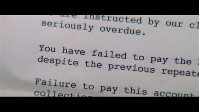 PAN A letter explaining a failure to pay a large balance