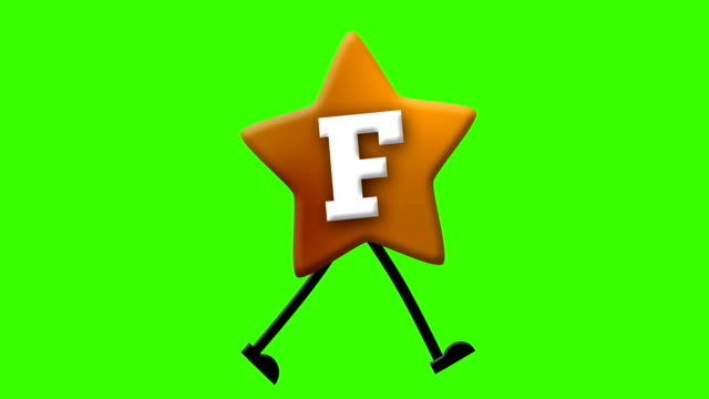 Letter F in Latin alphabet and walking character on greenscreen