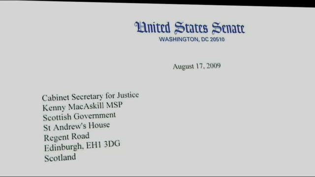 Letter from United States Senators to Kenny MacAskill asking that AlMegrahi not be released