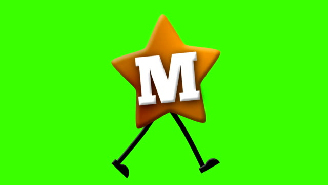 Letter M in Latin alphabet and walking character on greenscreen
