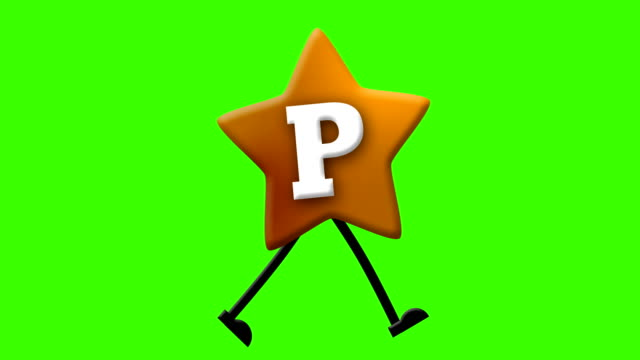 letter p in latin alphabet and walking character on greenscreen - cartoon p stock videos & royalty-free footage