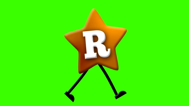 Letter R in Latin alphabet and walking character on greenscreen