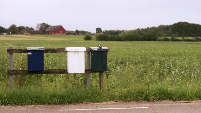 letterboxes by a country road sweden. - letterbox stock videos & royalty-free footage