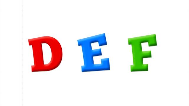 buchstaben d, e, f im lateinischen alphabet auf einem weißen notizbuch - literatur stock-videos und b-roll-filmmaterial