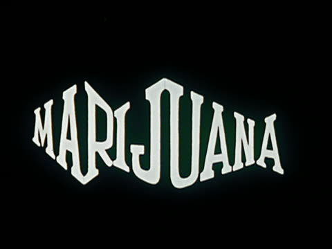 1969/1970 ANIMATION letters spelling 'marijuana' appearing one by one / turning colors / AUDIO