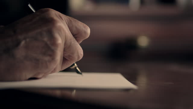 cu letter-writing with fountain pen - correspondence stock videos & royalty-free footage