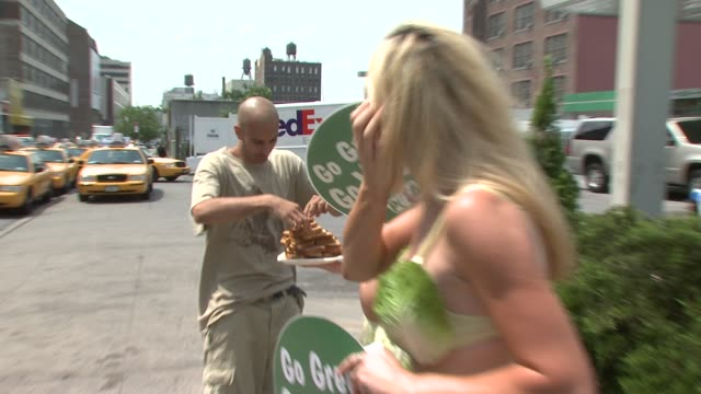 lettuce ladies and participant at the peta at the pump: lettuce ladies promote vegan eating at new york city ny. - participant stock videos & royalty-free footage