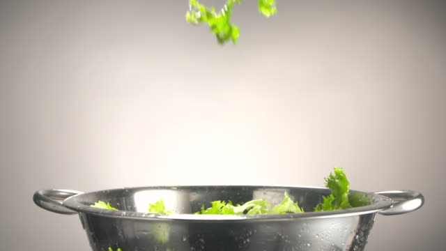 MS SLO MO Lettuce leaves being dropped into stainless steel colander / Los Angeles, California, United States