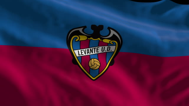 levante ud spanish soccer team flag waving computer generated animation for editorial use seamlessly looped and close up - loopable elements stock videos & royalty-free footage