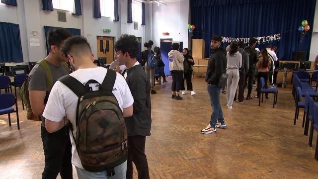 Drop in number of students receiving the highest grades ENGLAND London Newham Sixth Form College INT General views of students receiving A Level...