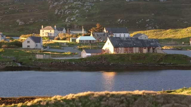 leverburgh at sunset on the isle of harris, outer hebrides, scotland, uk. - hebrides stock videos & royalty-free footage