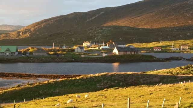leverburgh at sunset on the isle of harris, outer hebrides, scotland, uk. - coastline stock videos & royalty-free footage