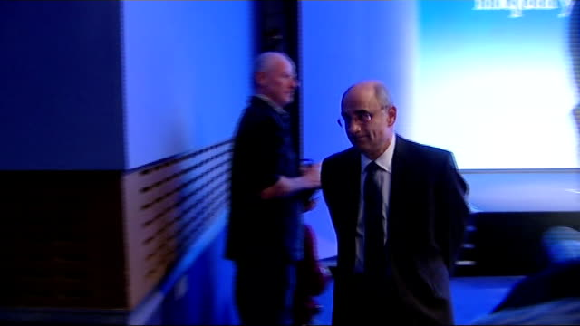 cameron to draw up draft bill but is opposed to law backed legislation london int lord justice leveson leaving room at end of press conference - conference phone stock videos & royalty-free footage