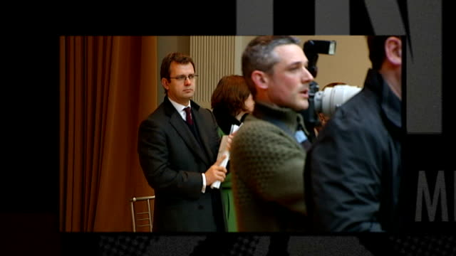 leveson inquiry into media ethics and phone hacking andy coulson gives evidence january 2010 andy coulson standing at back of room at david cameron... - andy coulson stock videos & royalty-free footage