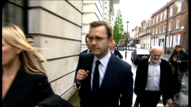 leveson inquiry into media ethics and phone hacking andy coulson gives evidence royal courts of justice ext coulson leaving leveson inquiry with... - andy coulson stock videos & royalty-free footage
