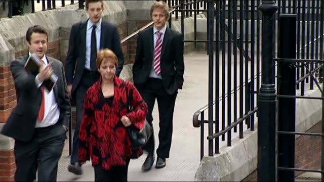 leveson inquiry into media ethics and phone hacking evidence by charlotte church anne diamond ext shots of anne diamond arriving at inquiry - anne diamond stock videos & royalty-free footage